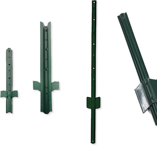 Green PVC Coated Carbon Steel Tubular Chain Link Fencing Posts